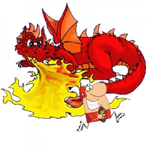 Dragon shooting fire at a Football player